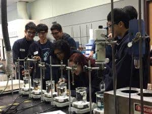 Students hands on testing in Sekisui lab